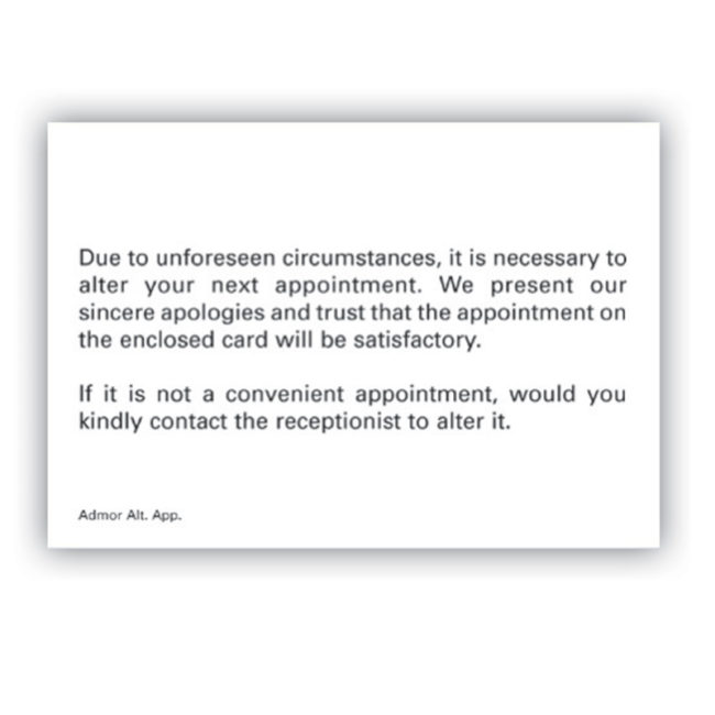 Altered Appointment Card